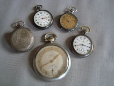 Collection of 5 pocket watches - For pockets, around the neck, or for women - 1900 - Brands: Niel LF and IF Huguenin, Mercedes, Rivolia