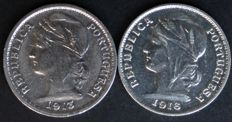 Portugal - 2 x 20 Centavos Silver Coins - 1913 and 1916 - Portuguese Republic - Lisbon