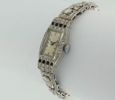 Antique platinum Art Deco watch, with old European cut diamond and onyx