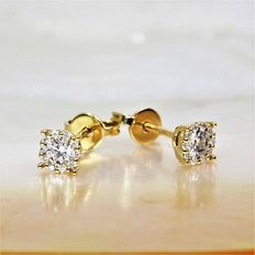 Pair of 18 kt yellow gold earrings - diamonds with optical effect, 1 carat in total