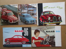 SAAB - Lot of 5 catalogues for models 93 & 96 - 1957 & 1960-1968
