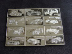 Mercedes-Benz - 12 pieces Silver bars  - 925/1000 - Sterling silver - Franklin Mint