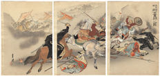Tryptich coloured woodcut with as image a battle from the first Japan-Sino war by Ogata Gekko (1859-1920) - Japan - 1894.