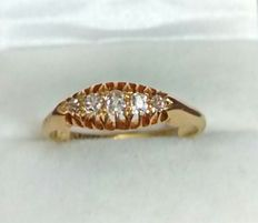 18kt Gold 5 Diamond Victorian Ring - Dated 1899