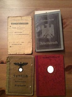 Documents: Wehrmacht-Driver's License, German Reich, Work Record Book, Pay Record Book