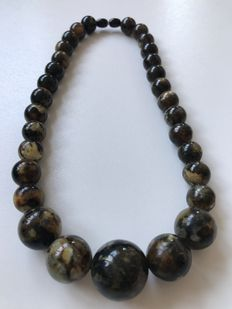 Necklace, made of dark Baltic Amber, 53 grams