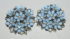 Signed Crown TRIFARI Pretty Light Blue Enameled Floral Earrings with Clear Rhinestones