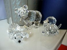 Swarovski - Grizzly young with fish - Beagle playing - Beagle seated.