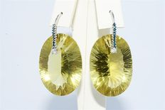 14 kt white gold earrings with 96.34 ct of lemon quartz and diamond – No reserve price
