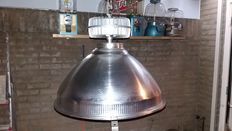 Unknown designer - industrial ceiling light, matte metal.