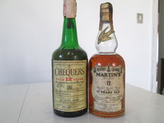 2 bottles - Martin's de Luxe & Chequers (12 years old) -  1960s/70s