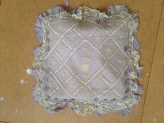 pillowcase of antique silk and lace, first half 20th century