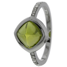 """Saddal - """"Dolce"""" white gold ring with peridot and diamond - Ring size 17.75"""