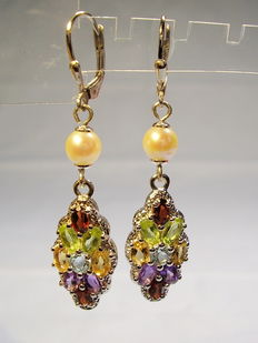 Earrings with multi coloured gemstones and authentic Akoya pearls