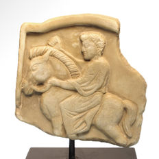 Roman Thracian Marble Relief of a Horse and Rider, 12.7 cm L