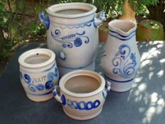 Pottery from Cologne - 4 pieces - jug and 3 pots