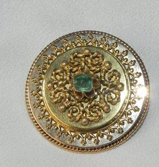 Antique emerald brooch, 585 gold, circa 1800