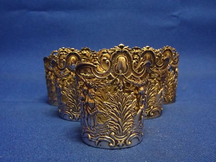 Rare: 6 Sterling silver holders for drinking glasses, 19th century. Hallmarked.