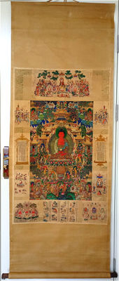 A Thangka scroll painting- Tibet - second half 20th century