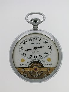 HEBDOMAS 8 Day Open Face Pocket Watch Chronometer Swiss Made 1960