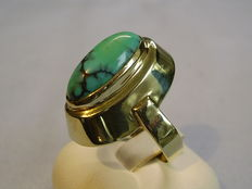 Large, gold ring with genuine natural turquoise