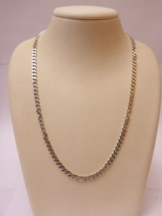 Silver necklace, polished, curb link.