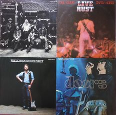 Set of 4 classic double live albums (8 lp's) by; The Allman Brothers, Neil Young, The Doors and Eric Clapton