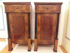 Pair of Empire style wooden nightstands - Italy - 19th century