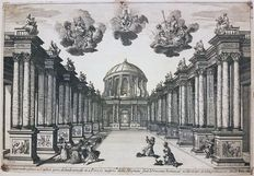 Two architectural prints by Israel Silvestre (1621 - 1691) - Theater sets created by Giacomo Torelli da Fano - 1654