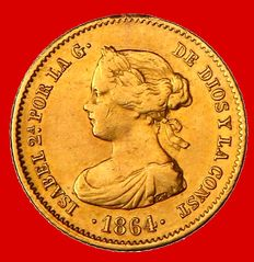 Spain – Isabel II (1833–1868) – Gold 40 real coin, Madrid, 1864