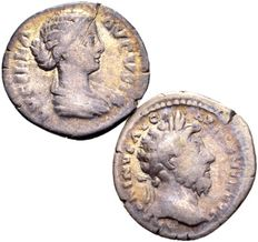 Roman Empire – Lot of 2 Silver Denarii / Marcus Aurelius (161-180 A.D.) and Lucilla, wife of L. Verus (161-169 A.D.)
