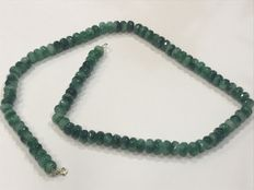 Emerald and gold necklace, no reserve