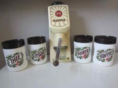 Douwe Egberts - wall coffee grinder and 4 vintage containers