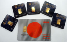 6 pieces Nadir PIM gold bars fine gold purity of 999.9/1000, 24 carat - 1 motif card Japan 1/2 grams and 5 gold bars 0,10 grams gold bar in cheque card format - blistered - LBMA certified