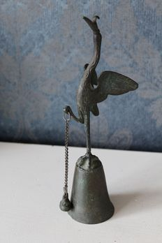 Bronze Pompeian Stork Bell Pompeii, with outside clapper
