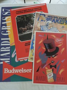4 Beautiful and original American breweries posters related to New Orleans - 1984 to 1987