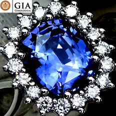 Unheated natural Blue Sapphire 1.86 ct, and 0.30 ct Diamond cocktail ring in 18 kt white gold – GIA Certified – No Reserve