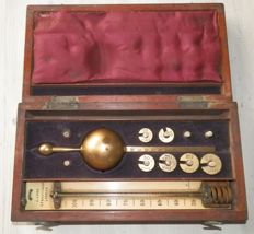 19th century thermometer and hydrometer in mahogany box. England