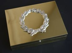 Bronze Cigar Box with Silver plated wreath.