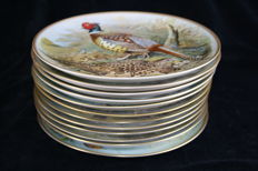 Franklin Porcelain - Complete collection of 12 porcelain plates Gamebirds of the World