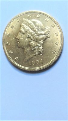 United States – 20 Dollars 'Double Eagle' 1904 – Gold