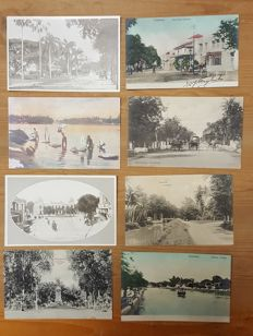Dutch East Indies-1900/1940-62 old postcards from various locations and regions
