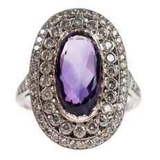 Amethyst, Diamond, Platinum Ring Art Deco Era (1915-1935)