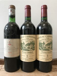 1x 1970 Château Pape Clement, Graves Grand Cru Classé  & 2x 1996 Château Carbonnieux, Graves Grand Cru Classé – 3 bottles in total