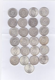 The Netherlands - 1 guilder 1954 to 1967 Juliana (25 pieces) - silver