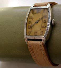Art Deco * Silver men's watch * 1930s/40s