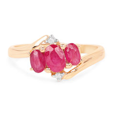 Gold ring with rubies and diamonds. Rubies of 1.21ct. Diamonds 0.04ct.; *****No reserve price****