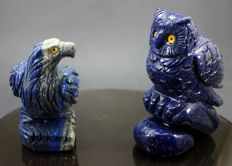 Hand-carved Lapis Lazuli figurines - 109 and  95mm - 1129 gm  (2)