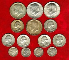 United States – Collection of 14 coins with different values. 1 dollar, Kennedy (4). Washington quarter dollars (6) and Roosevelt dimes (4) - 1946 - 1969. (14). Silver.