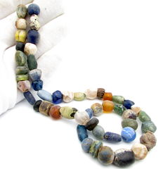 Viking Necklace with Coloured Glass Beads  - 500 mm